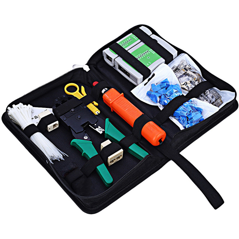 цена на New Network Cable Tester Crimper LAN Ethernet Kit Crimping Tool Set Cat5e Cat6 RJ45 Network Computer Maintenance Repair Tool Kit