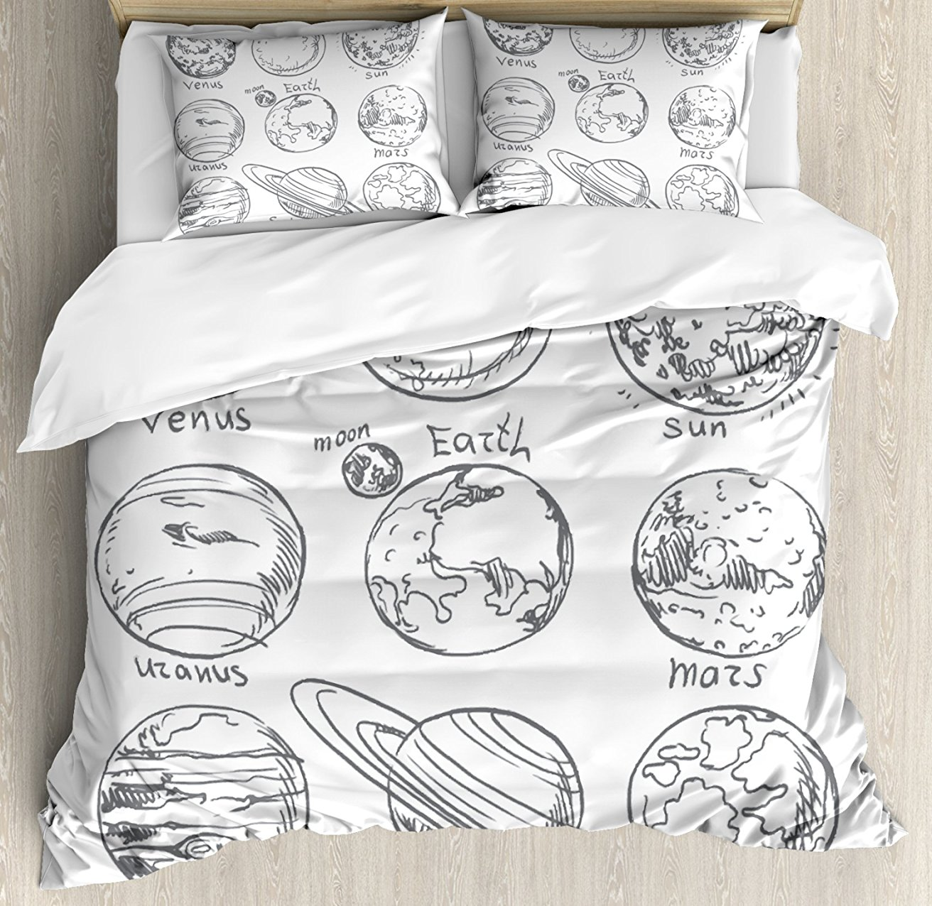 Doodle Duvet Cover Set Planets of Solar System Sun Mercury Earth Moon Mars Neptune Saturn Jupiter Science, 4 Piece Bedding Set