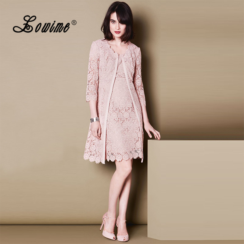 Pink Lace Women Formal Outfits Two Piece Mother Of The Bride Dresses With Jacket 2017 -6715