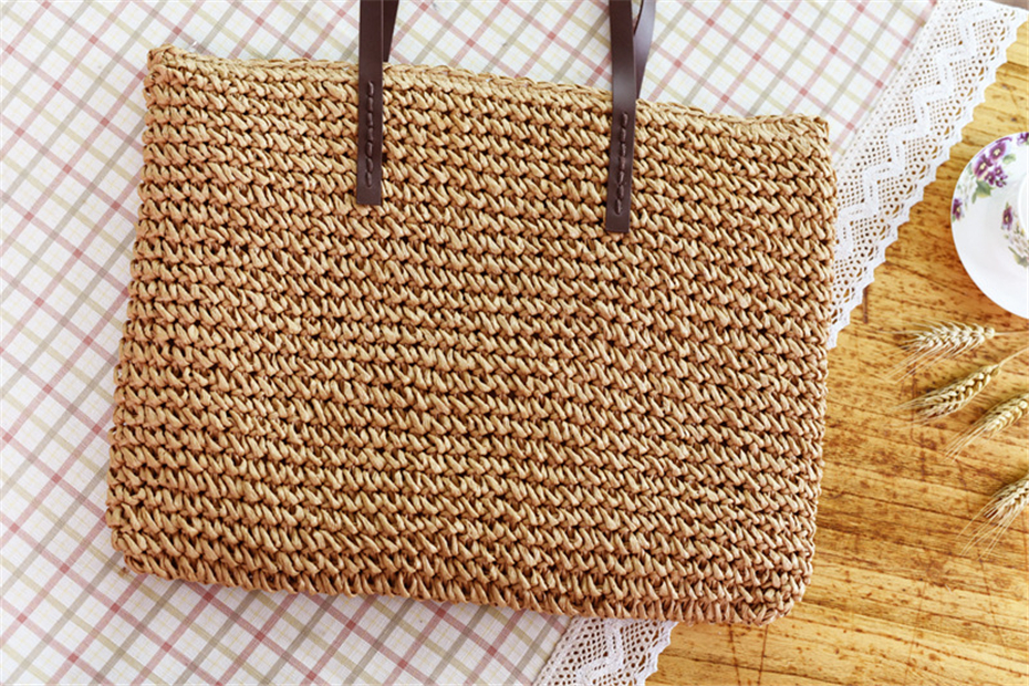 Women Handbag Summer Beach Bag Rattan Woven Handmade Knitted Straw Large Capacity Totes Leather Women Shoulder Bag Bohemia New 17