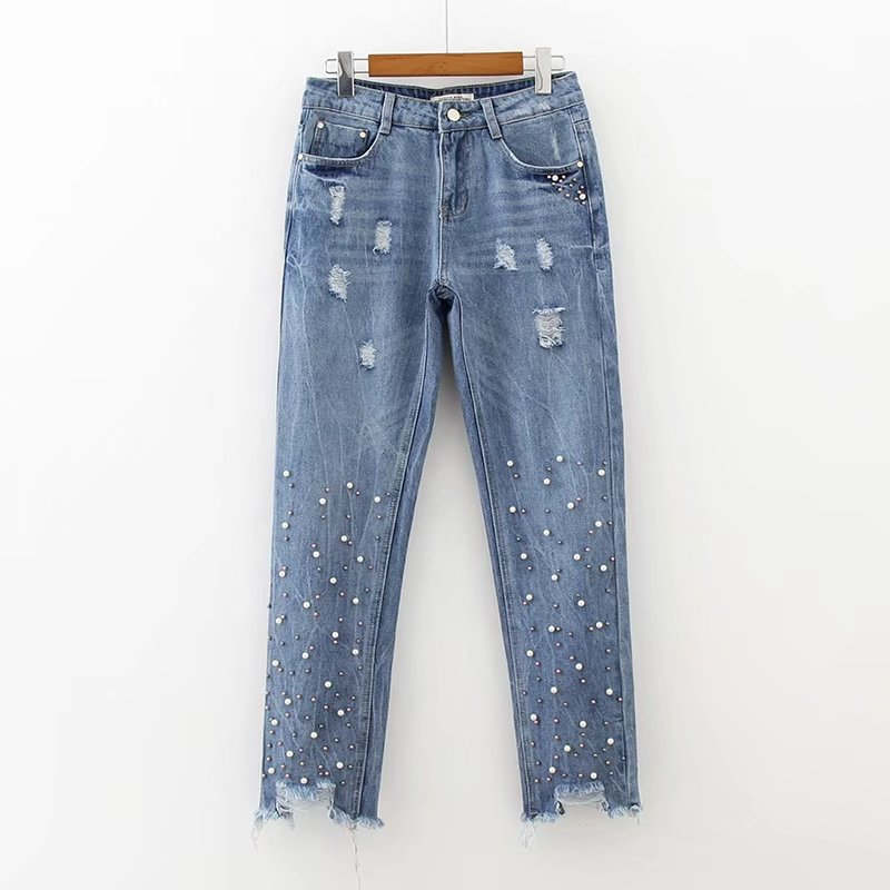 2017 New Fashion Europe Style Beading Distressed Women's Jeans Ankle-Length Pencil Pants Mid Waist Vintage Casual Denim Femme 2017 new style europe