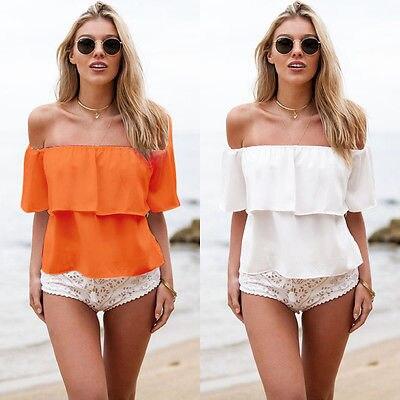 Women Shirts 2020 new Women sexy Off Shoulder Ruffled summer shirt tops Low Back Peasant Chiffon Slaash Neck Shirt