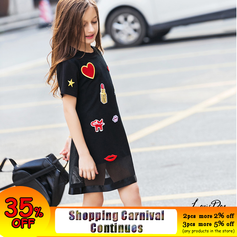 все цены на Summer Girls Dress for Teenager Girl Casual Dress Kiss Star Appliques Mesh Black Kids Dresses Casual Children Dress 6 8 10 12 14