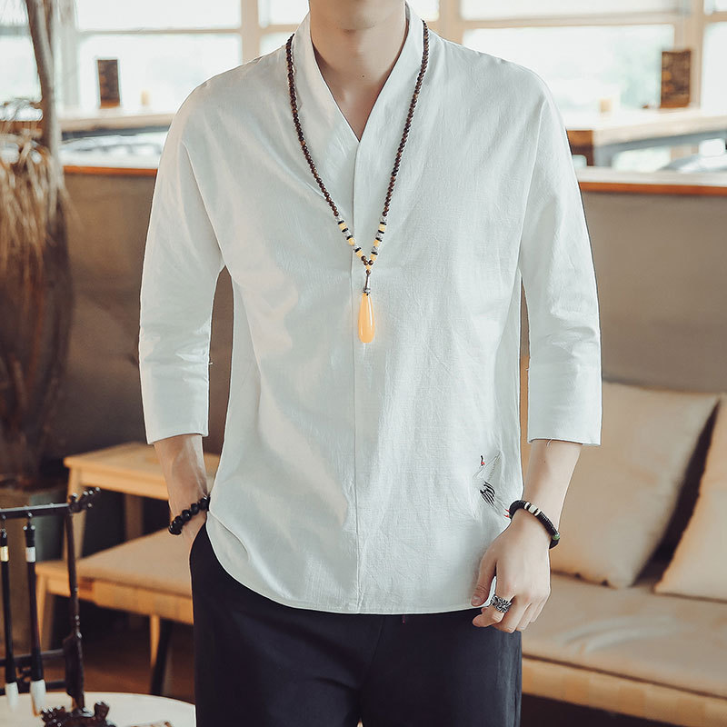 2019 summer fashion traditional Chinese men plus size shirts