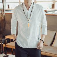 2019 summer fashion traditional Chinese men plus size shirts