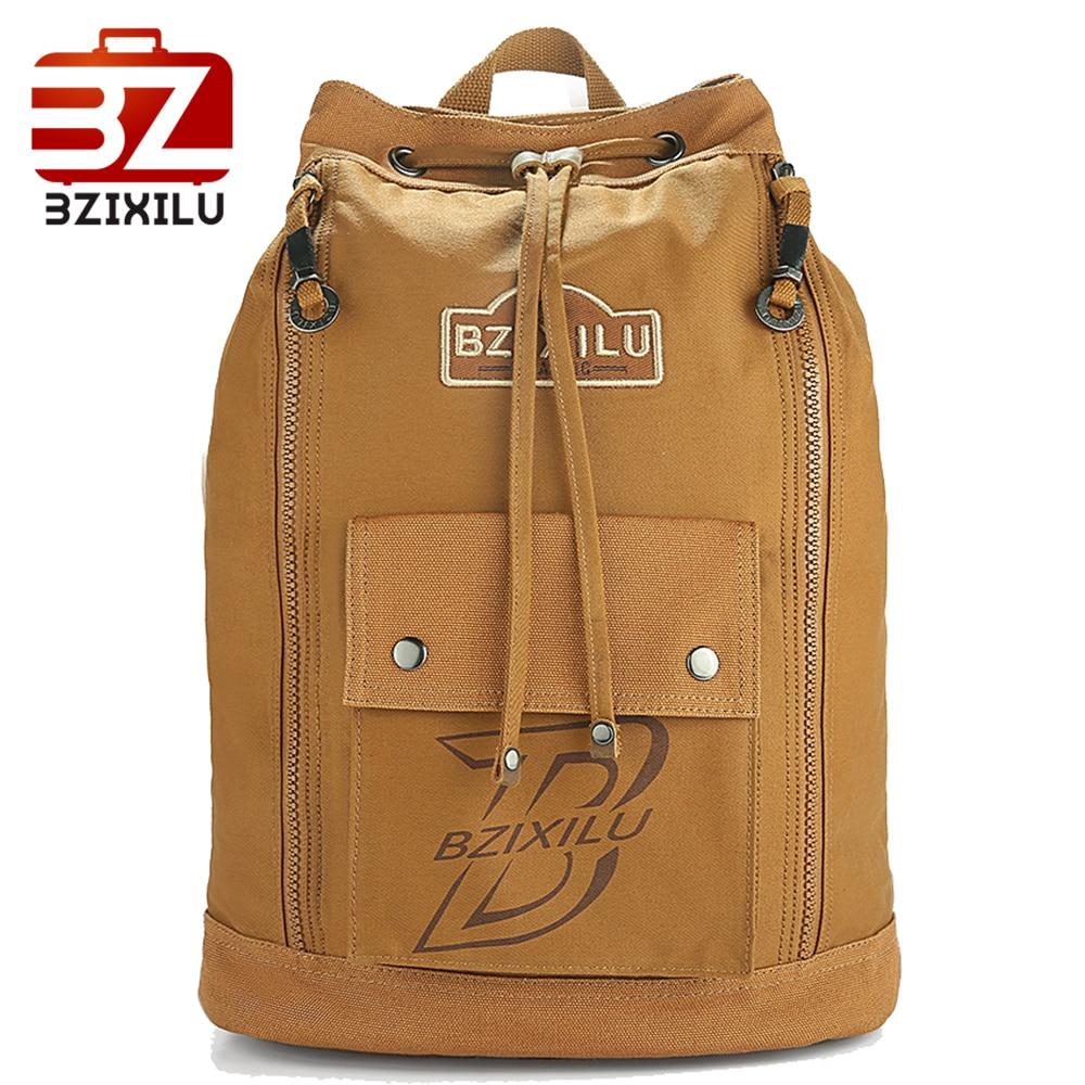 Bzixilu Men's School Laptop Backpack Vintage Canvas Drawstring Knapsack Travel Large Capacity Retro Bagpack Bag  New Fashion
