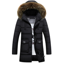 Raccoon Dog Natural Fur 2016 New Winter Jacket Men Cotton Padded Parka Man Long Black Thick Warm Casual Hooded Male Jacket Coat