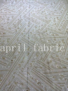 5yards HLL162 2color cross flower glitter hand print african india mesh fabric for wedding/evening dress  fast shipping by dhl !