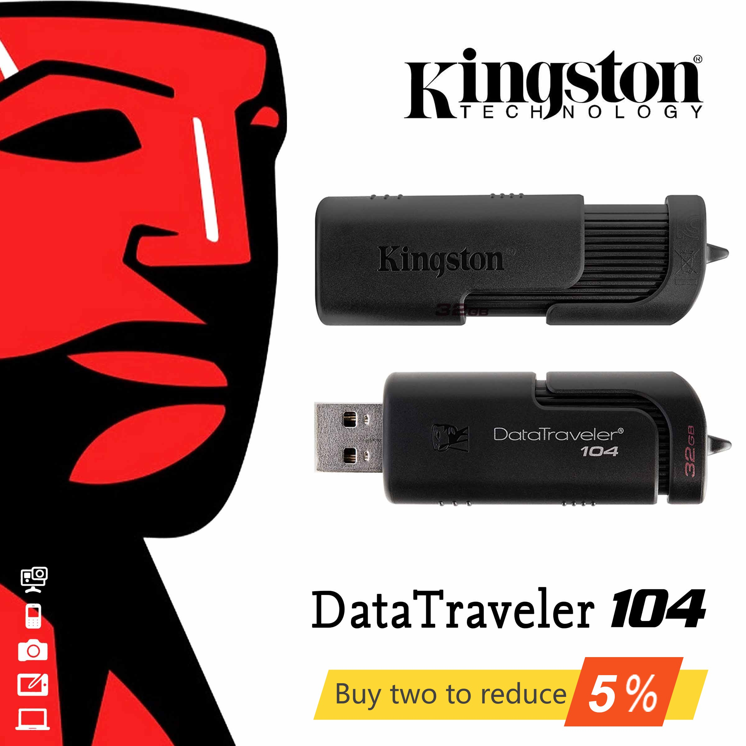 Kingston Original DT104 16G USB Flash Drive Car U Disk 32g Personalized Custom U Disk 64G Computer U Disk 2.0 Bidding U
