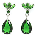 Gorgeous Green Emerald Created SheCrown Woman's Wedding   Silver Stud Earrings 28x10mm