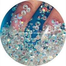 Фотография New 1440pcs/bag SS3-SS20 Transparent White AB 3d Nail Art Rhinestones Shiny Manicure Decor Crystal Studs Beauty Stickers on Nail