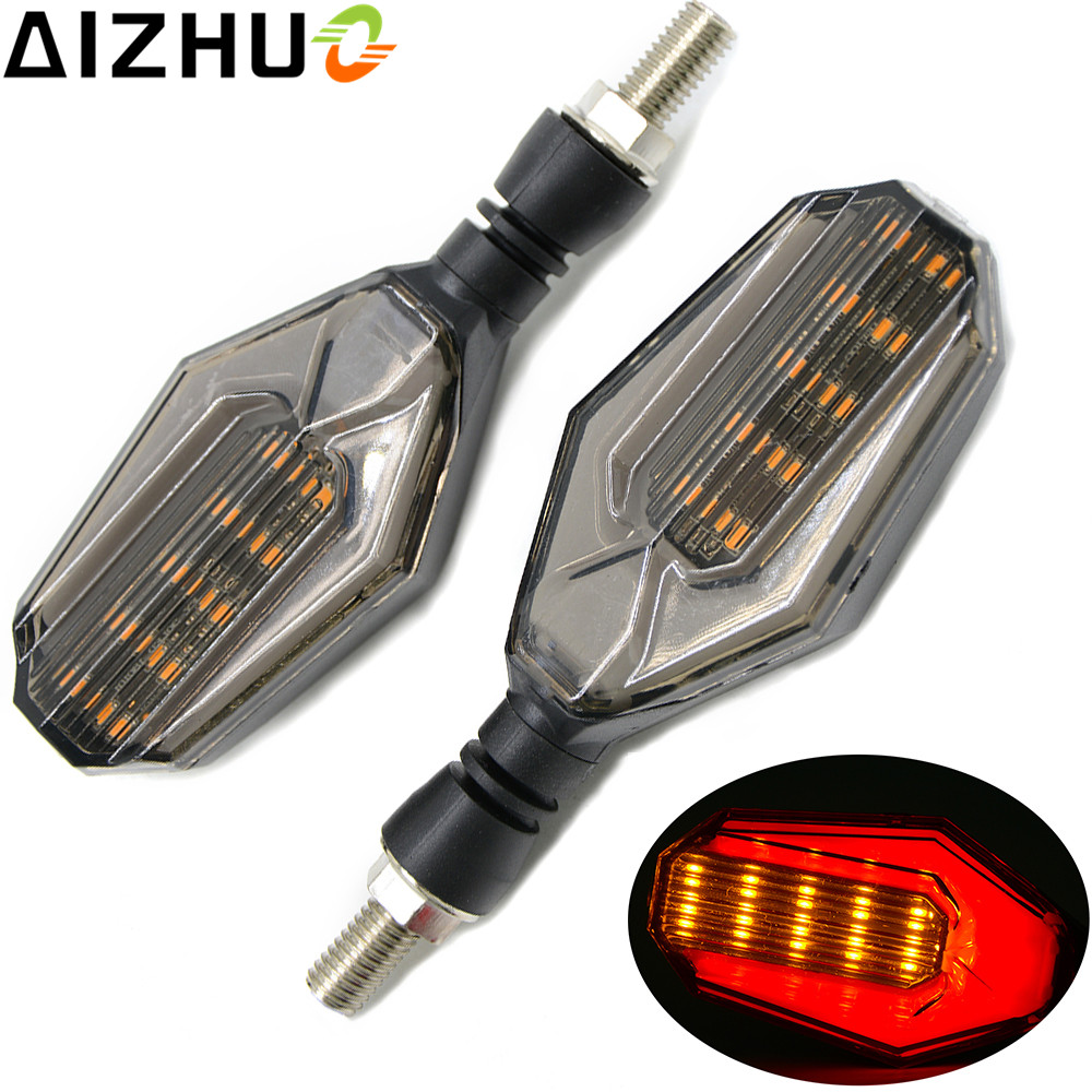 Motorcycle Turn Signal Light Amber Red Lights LED Universal 12V Motorbike Accessories Blinker Indicator Decorative Lamp 2PCS