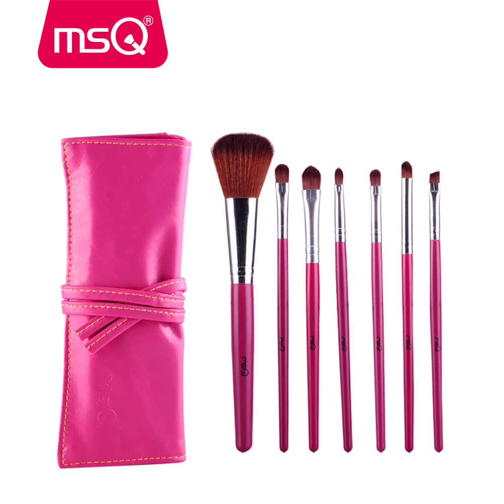 MSQ Professional 7pcs Makeup Brushes Set Soft Synthetc Hair With PU Leather Case Foundation Powder Blush Eyeliner Cosmetic Pink msq professional 15pcs makeup brushes set soft synthetic hair natural wood handle with pu leather case for beauty fashion tool