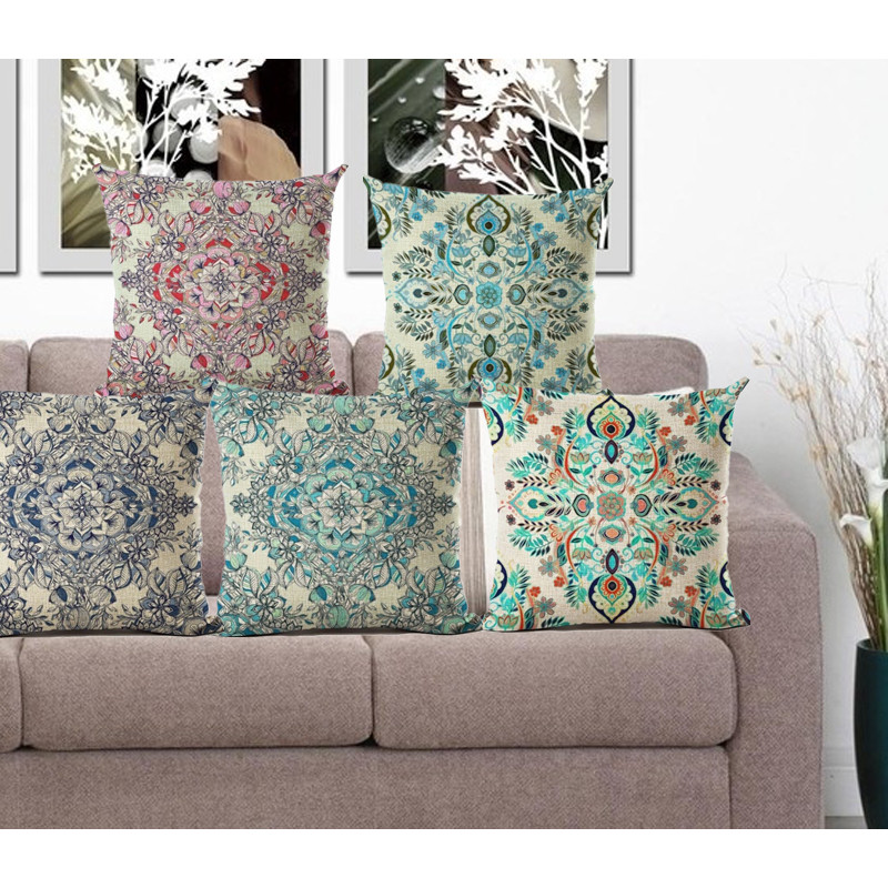 Pillowcase Bohemian Style Cushion Cover Cotton Linen Printed Chair Seat Size 45*45 Home Decorative Throw Pillow Cover Cojines