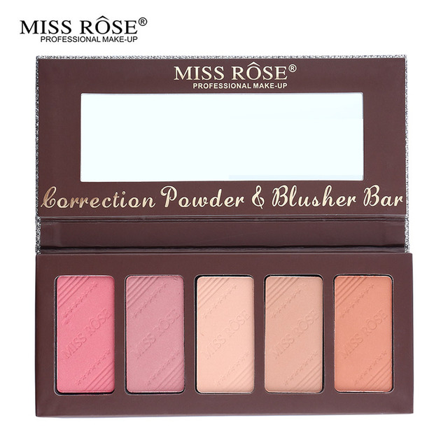 Miss Rose Makeup Sleek 5 Color Blush em pó paleta Bronzer Contour conjunto Corretivo rosto Blush