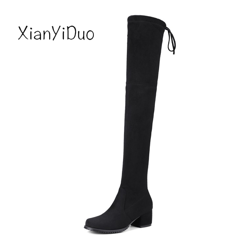 Xianyiduo Spr/Autumn Womens Shoes Over-the-Knee Thigh-high Boots Round Toe Med Heels plus size34-43 Micro stretch shaft/198