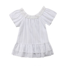 85021431fbf8 1-6Y Princess Toddler Kids Baby Girl Off shoulder White Dress Tutu Formal  Pageant Party Dresses Sundress Clothes