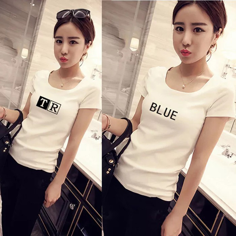 2019 New Women T-shirts Casual Pure color Printed Tops Tee Summer Female T shirt Short Sleeve T shirt For Women Clothing