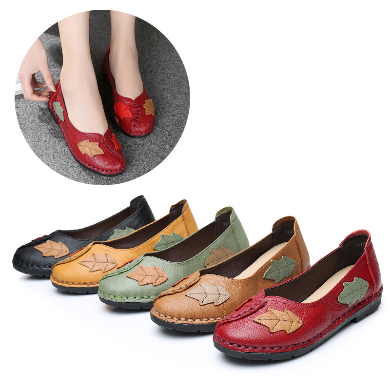Femme Véritable red Printemps apricot Black Green Cmfortable Chaussures Nouveau yellow light slip 2018 En Doux Femmes Cuir Impression Non Occasionnel Appartements Oxford Zw71Txwtq