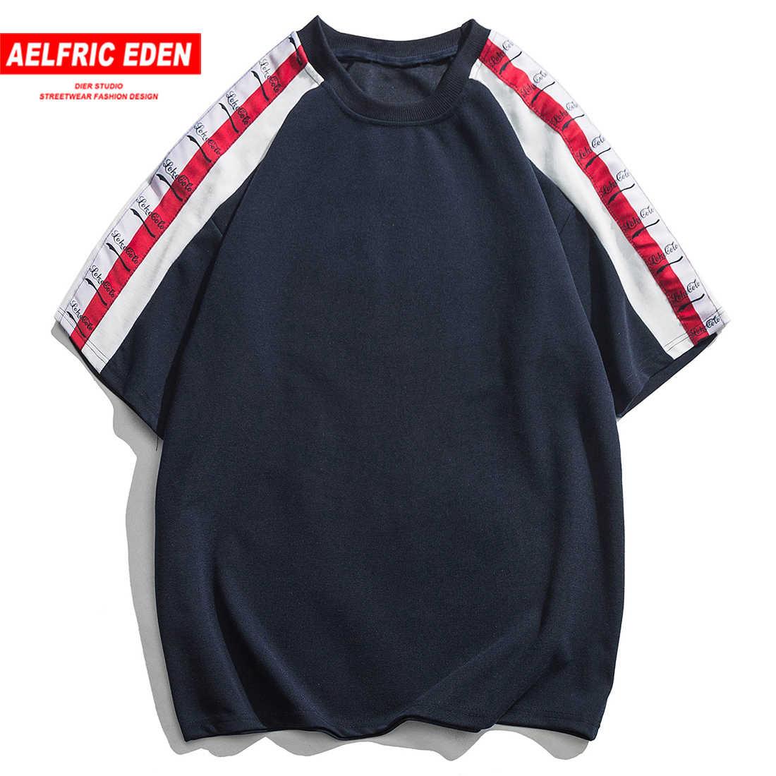 Aelfric Eden Mode Patchwork Brief Afdrukken Heren T-shirt Harajuku Zomer Streetwear Hip Hop Tops Tees Casual Katoen Korte Mouw