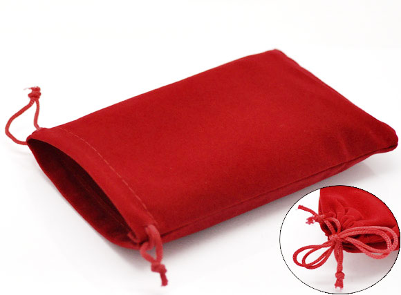 Doreen Box Hot-  Red Velveteen Pouch Jewelry Bags With Drawstring 15x10cm(5-7/8