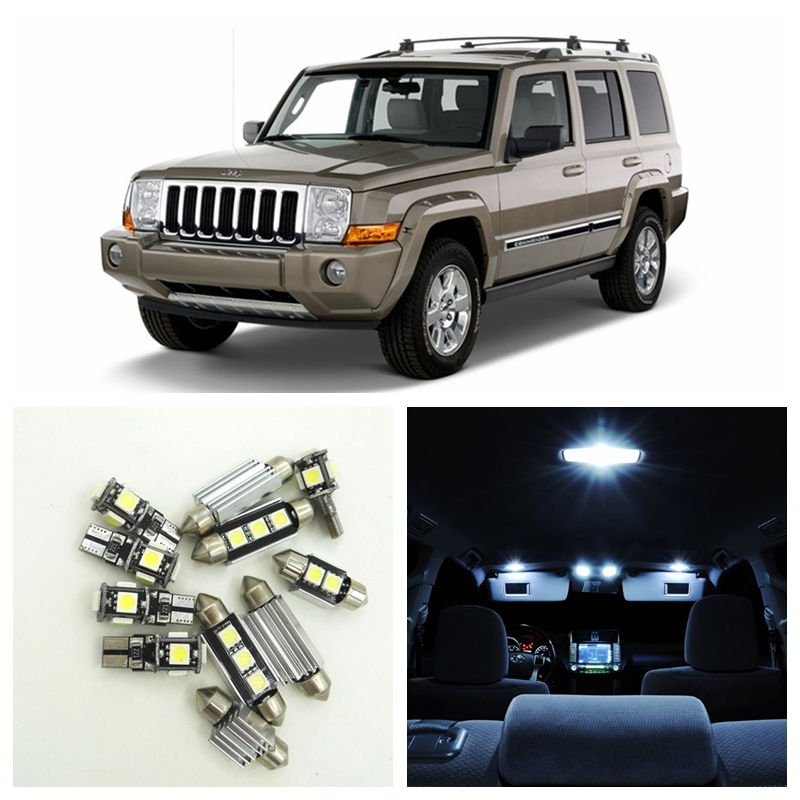 13pcs White Canbus Car LED Light Bulbs Interior Package Kit For 2006-2010 Jeep Commander Map Dome Trunk License Plate Lamp 14pcs error free white canbus car led light bulbs interior package kit for 2002 2007 volvo v70 estate xc70 map dome trunk lamp