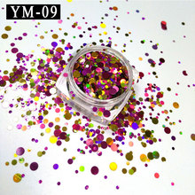 YM-09-1Box  1mm 2mm 3mm Gold&Red&Purple Glitter Nail Ultra Holographic Acrylic Mixes Holo Sequins Round