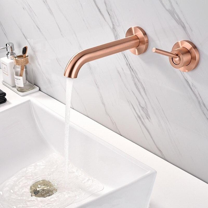 Becken Wasserhahn Wand Montiert Rose Gold Matte Einzelne Griff In