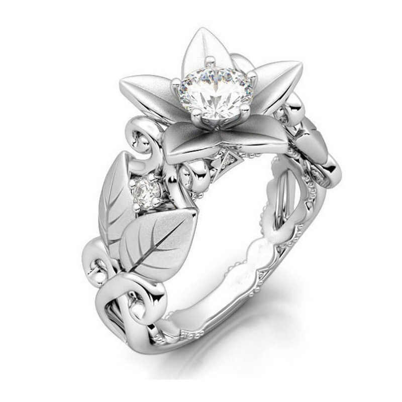 Hot Rose Flowers Finger Rings Alloy For Women Crystal Middle Fashion Jewelry