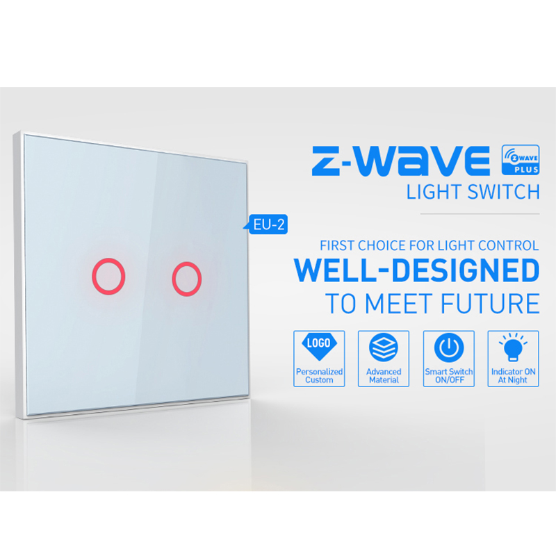 Image 2 - COOLCAM 4pcs/lot Z wave Plus Wall Light Switch 2CH Gang Home Automation Z Wave Wireless Smart Remote Control Light Switch-in Building Automation from Security & Protection