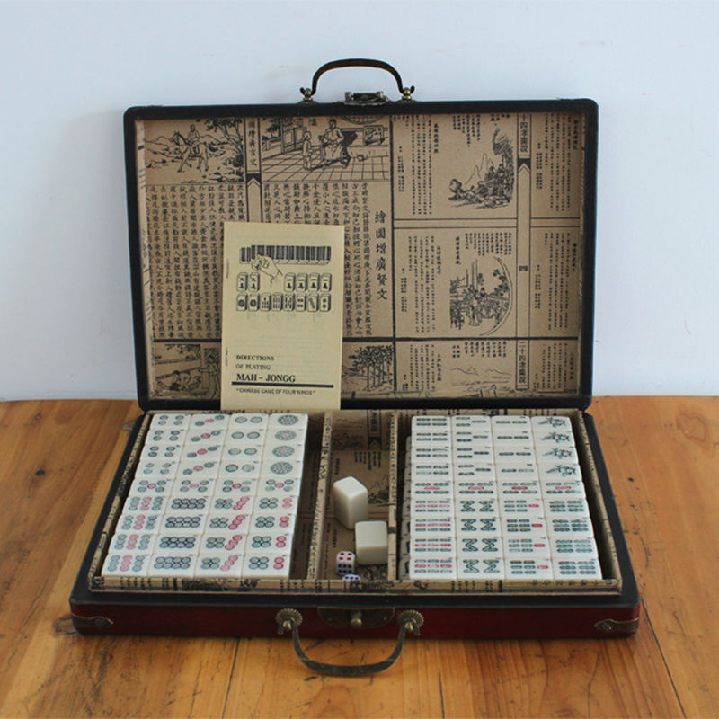 New Chinese Antique Mahjong Games with English Instruction Four Winds Board Game 3x2 2x1 5cm Mah