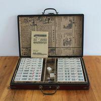 New Chinese Antique Mahjong Games with English Instruction Four Winds Board Game 3x2.2x1.5cm Mah Jong wooden Box majiang k8356