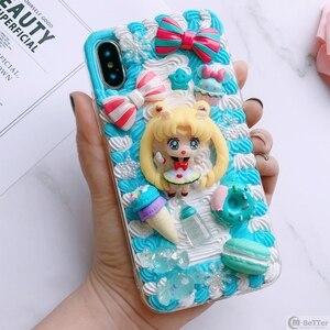 Image 4 - Pour Samsung S9/10 plus + étui bricolage note8/note9 3D marin lune couverture de téléphone Galaxy s8/s9 + s6/s7 bord à la main crémeux étui fille cadeaux
