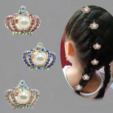 6pcs Tiny Cute Hair Clip Crown Tiara Hair Grip Lovely Girls Hairwear Wedding Flower Girls Jewelry Accessories 509-4