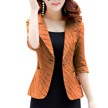 Seven-point sleeves striped small suit Women short coat 2019 spring Korean casua