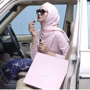 Image 2 - Women Plain Bubble Chiffon Scarf/Scarves Hijabs Muslim Hijabs Turban Headband Cloth Wrap Solid Color Shawls Headband Maxi Shawl