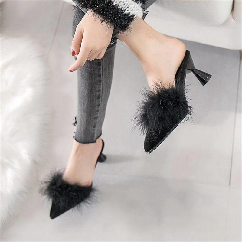 Zanpace Fur Women Slippers Pointed Toe Shoes 5cm Med Heels Slippers Women Sexy Spring Autumn Feather Slippers Flip Flops Women