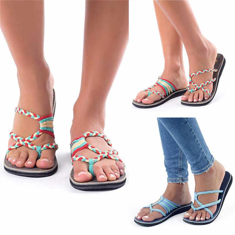 a500072ce377e Women Fashion Flip Flops Summer Beach Stripe Shoes High Quality ...