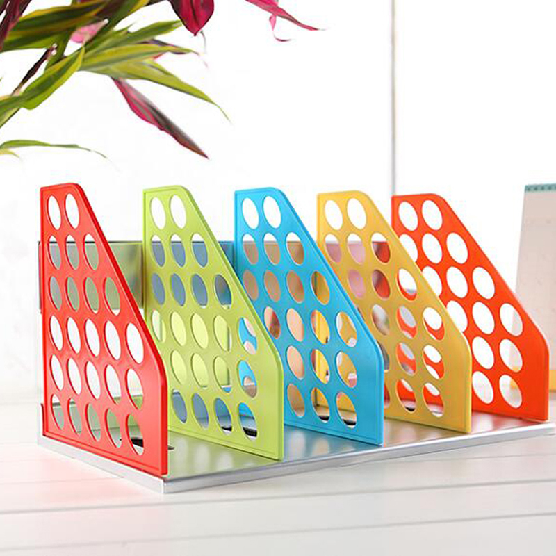 цены  New DIY Plastic Bookend Office File Document Tray Holder Multifunction Magazine Rack Desk Shelf Desk Organizer Storage Shelves