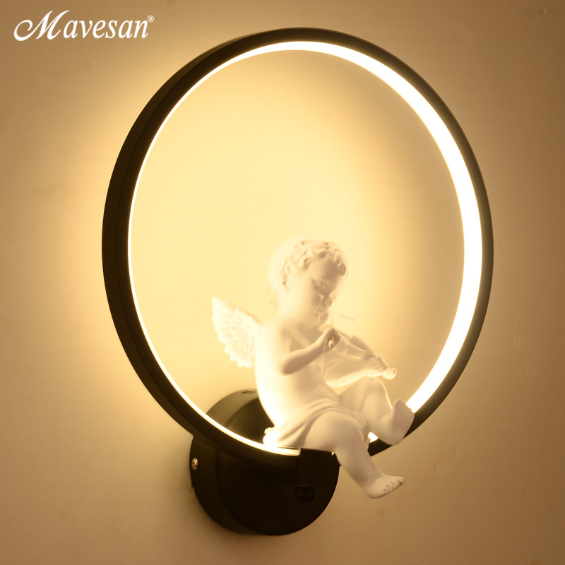 Image 3 - Hot selling  Wall Lamps indoor black white wall lighting Minimalist art Sconce Interior with angel Home Decoration wall-in LED Indoor Wall Lamps from Lights & Lighting