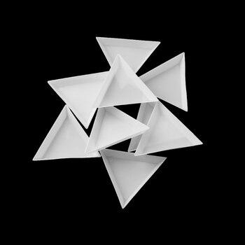 10Pcs New Stylish White Triangle Nail Art Gems Tray Decorations Crystal Rhinestones Gems Plastic Sorting Tray Manicure Tools Nail Decorations