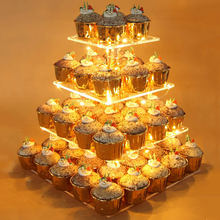 4 Tiers Pastry Stand Acrylic Square Cupcake Display Led String Lights Dessert Tree Tower Birthday Wedding Party Decor B4