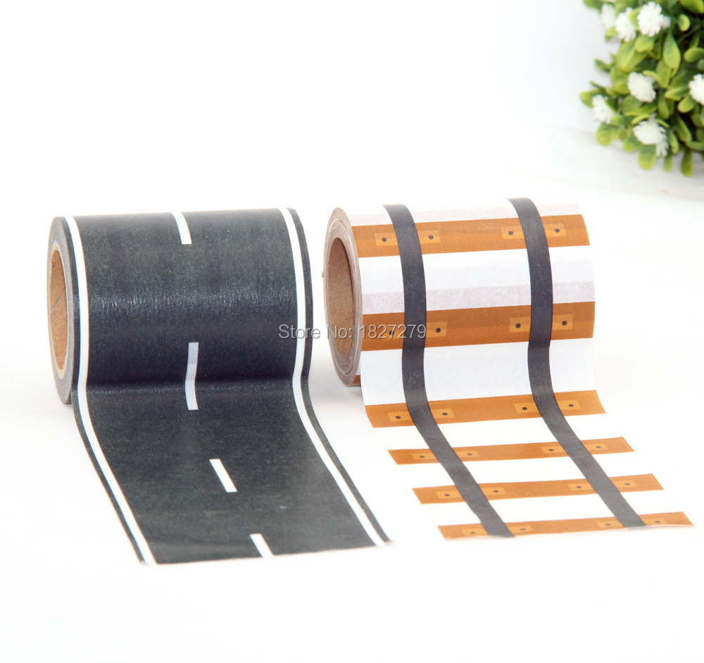 New 1pcs 60mm*10M Railway Road Washi Tape ,wide creative traffic road Adhesive Masking Tape, scotch road for kids toy car play 10m super strong waterproof self adhesive double sided foam tape for car trim scotch