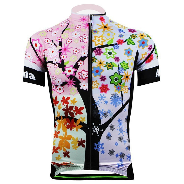 2015 New Women Flower Design Bike Jersey Tops Women Cycling Jersey