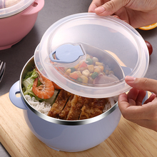 Lunch Box Large stainless steel bowl of instant noodles to eat rice bowl with lid, household utensils soup bowl rice bowl