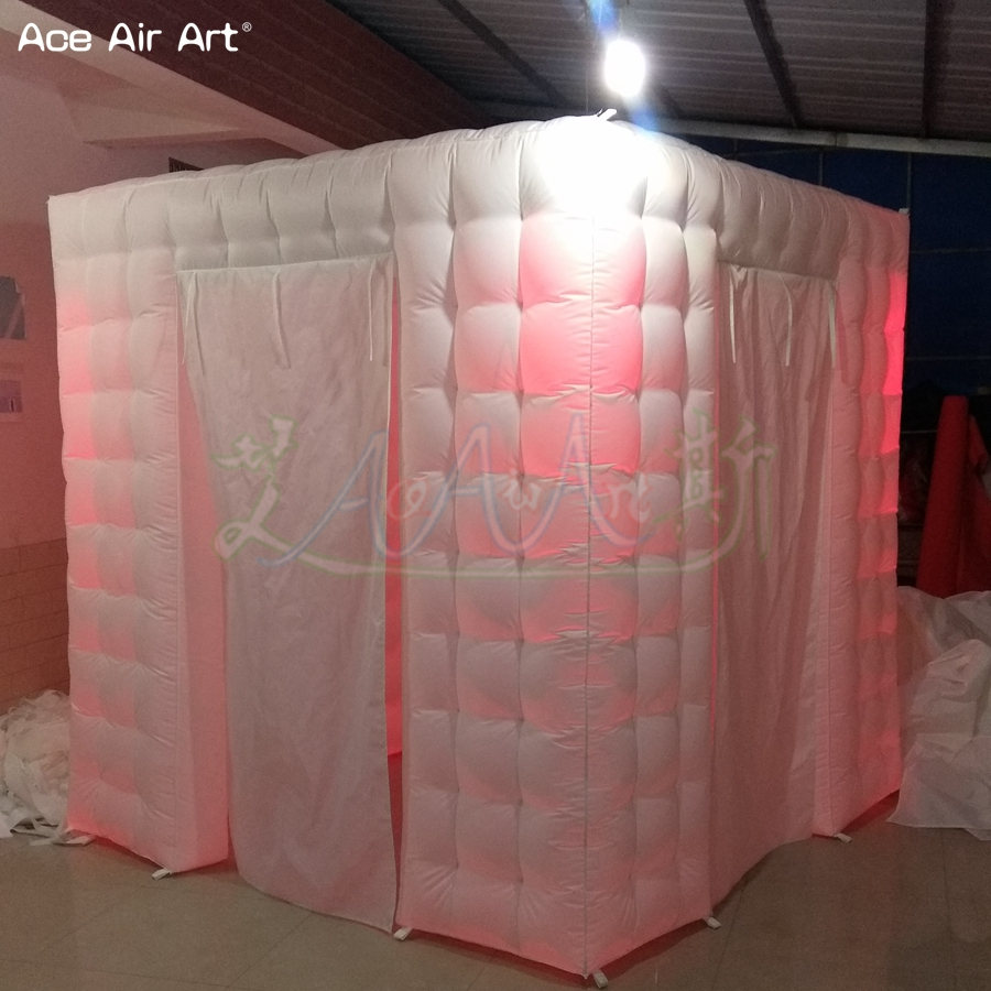 8ft Elegant style inflatable photo booth background pop up photography backdrop props square cubic tent free logo for sale