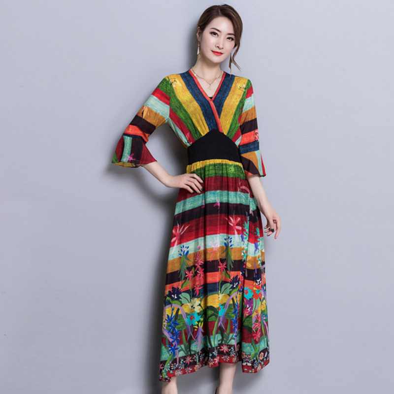 Rainbow Stripe Silk Trumpet Sleeves Ankle_length Dress Elastic Waist Beach Dress 2018 Women V-cut Split Wrap Long Summer Dresses