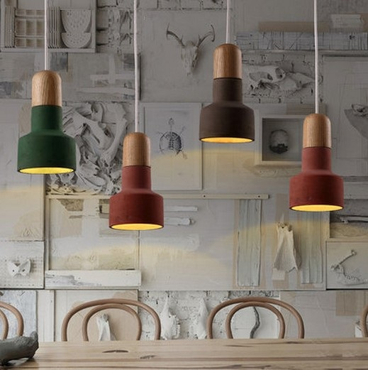 Loft Style Creative Color Cement Droplight Wood Vintage Pendant Light Fixtures LED Hanging Lamp For Dining Room Indoor Lighting eiceo nordic ancient art cement resin creative pendant lamp minimalist retro cement lampshade for indoor cafe bars decor light