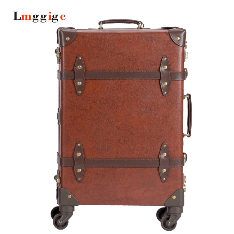 Genuine Leather Luggage,High quality Vintage Suitcase,Universal wheels Aluminium alloy trolley travel bag,Caster commercial box
