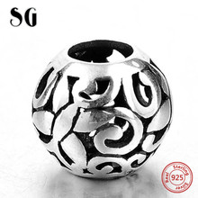 цена Silver Galaxy Charms Bead Fit Original pandora Bracelet Plant Hollow Out Fashion For Women 925 Sterling Silver Jewelry DIY Bead